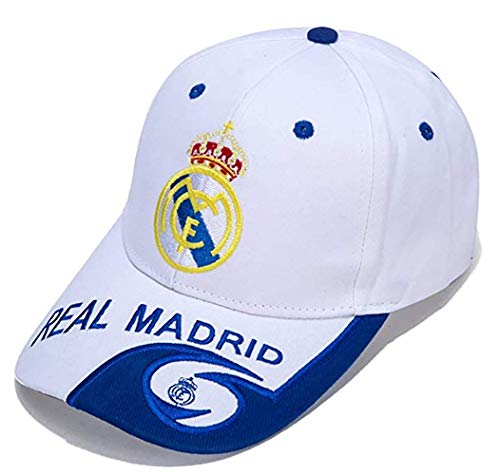 ZQfans World Football Club Embroidered Baseball Cap Soccer Team Logo Adjustable Cap for Soccer Fans (Real Madrid-White, One-Size)