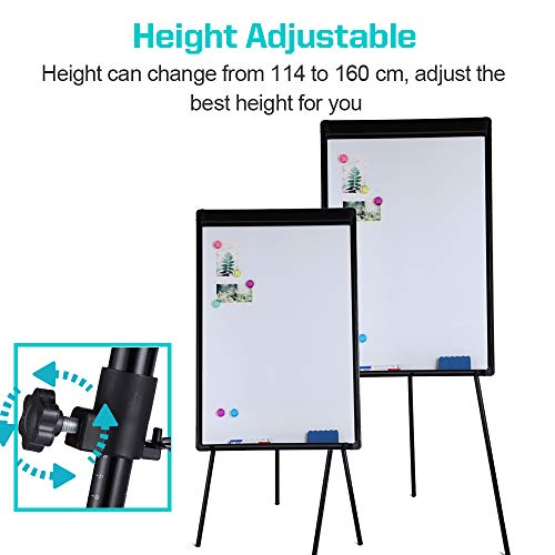 Dry Erase Easel 24 x 36|Height Adjustable Magnetic White Board Easel with Tripod Stand|Office Presentation Board w/Flipchart Pad, Magnets & Eraser, Black