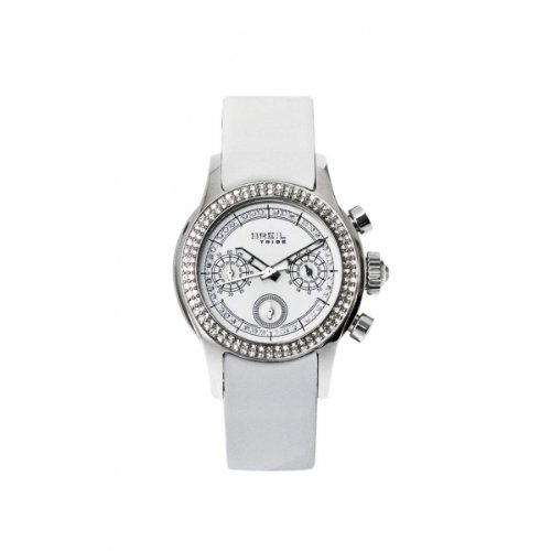 Breil Tribe Ladies Chrono Effect Crystal Bezel White Leather Strap Watch TW0504