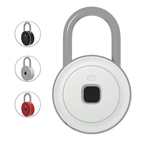 V6 Fingerprint Padlock Great Finger Recognition Portable Smart Gym Lock Touch Screen Fast Unlocking Keyless Anti Theft Padlock for Locker School Cubicle - Manual Van Door