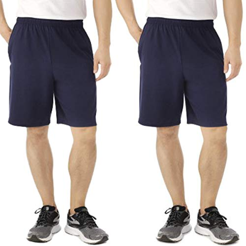 Fruit of the Loom (2 Pack Tagless Mens Shorts, Athletic Shorts for Men, Gym Shorts, Running Shorts, Cotton Shorts, Casual Shorts for Men with Pockets and 9 Inch Inseam Blue ()