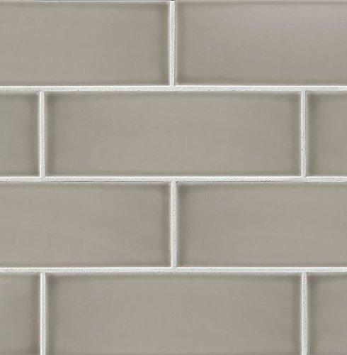 Bedrosians DOLGRAGR412''Grace'' Glossy Wall Tile, 4'' x 12'', Grigio