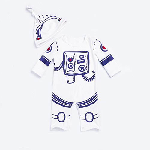 2pcs Baby Boy Girl Jumpsuit One Piece Romper Spaceman Astronaut Outfit With Hat White 66(3-6M)