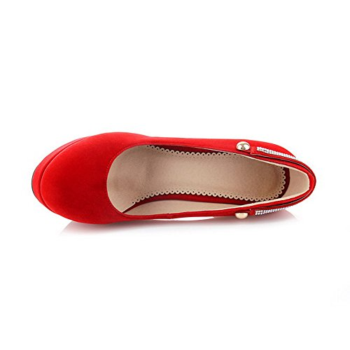 VogueZone009 Women's Round Closed Toe Pull On Imitated Suede Solid High Heels Pumps-Shoes Red JMFLa