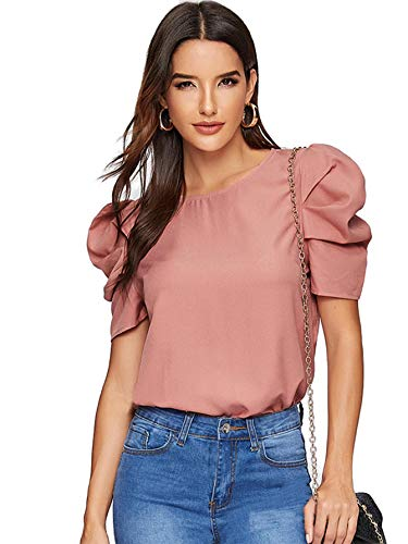 Puff Sleeve Blouse - Floerns Women's Elegant Puff Short Sleeve Round Neck Blouse Tops A-Pink-1 M