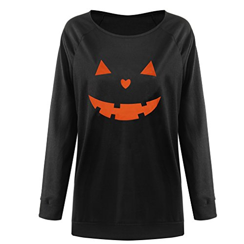 Niyage Women's Halloween Sweatshirts Pumpkin Face Shirt Easy Costume Fun Tops Round Neck-Black -