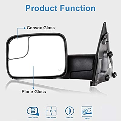 ECCPP Towing Mirrors Power Heated Black Manual Replacement fit for 2003-08 Dodge Ram 1500 2500 3500 Truck Side Set: Automotive