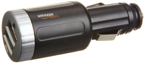 AmazonBasics 2-Port USB Car Charger with 2.1 Amp Total Output (Black)