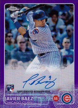 2015 Topps Chrome Purple Refractor Ar Jb Javier Baez Certified Autograph Baseball Rookie Card Only 250 Made