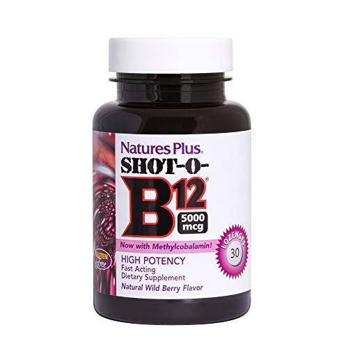 Natures Plus Shot-O-B12 (Methylcobalamin) - 5000 mcg, 30 Vegetarian Lozenges - Natural Cherry Berry Flavor - High Potency Vitamin Supplement, Memory & Energy Booster- Gluten Free - 30 Servings - Natures Plus Shot