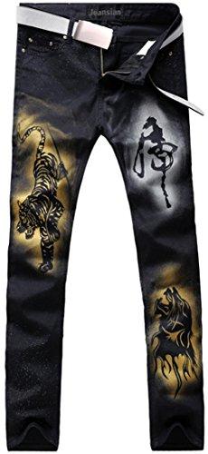 Uomini Pantaloni Tendenze Uomo Sottile Moda Mjb072 Jeans Stampa Denim Jeansian Casual black C5q8Zwn6H