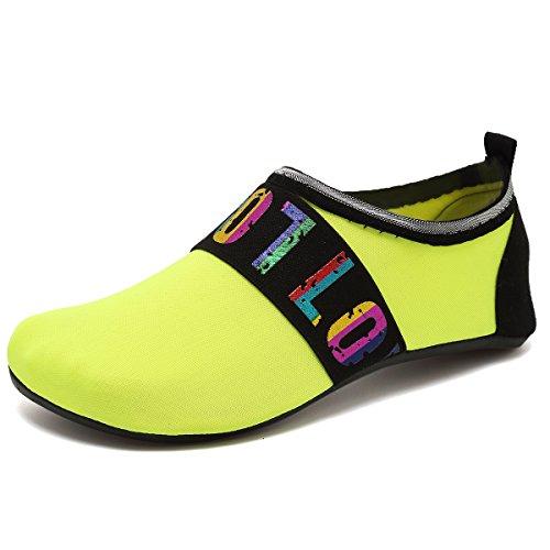 VIFUUR Wassersport Schuhe Barfuß Quick-Dry Aqua Yoga Socken Slip-On für Männer Frauen Kinder Liebesgelb