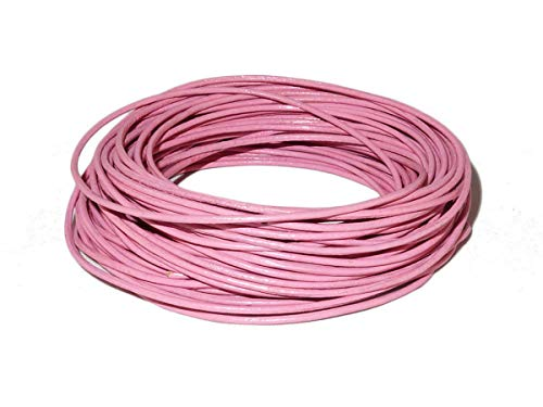 (cords craft 1.5mm Genuine Round Leather Cord Leather String for Jewelry Making Bracelet Necklace Beading, 10 Meters / 10.93 Yards (Pink))