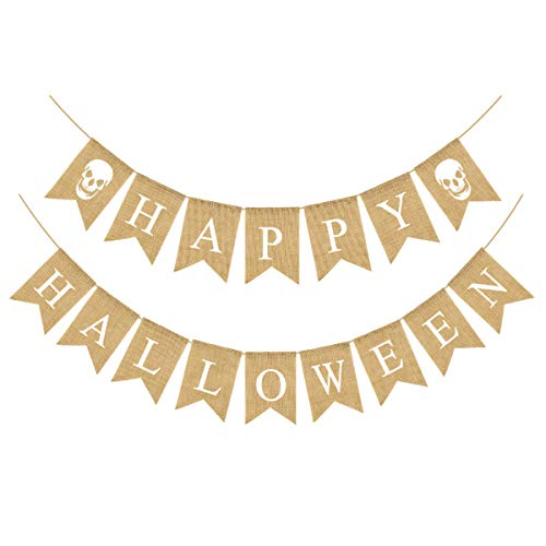 Halloween Ghost Bunting (Happy Halloween Burlap Banner Garland Ghost Bunting Banner for Halloween Skull Party Decorations-White)