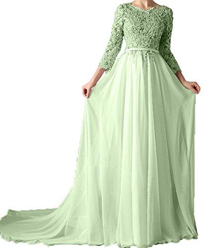Charmant Brautmutterkleider Langarm Rock Prinzess Festlichkleider Partykleider Abendkleider Damen Spitze Salbei Linie A ppwqHr
