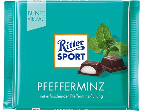 Ritter Sport Peppermint Dark Chocolate Bar Candy Original German Chocolate 100g/3.52oz