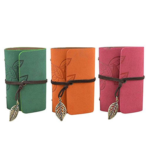 - 3 PCS 20 Pockets* 3 Retro Portable PU Leather Leave Pattern String Credit Card Holder Instant Photo Album for Instax Mini 70 7S 8 25 50S 90 Films - Orange + Green + Red