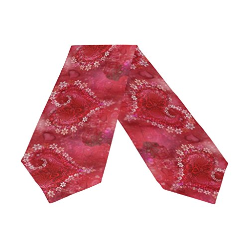 Naanle Double-Sided Happy Valentines Day Love Polyester Table Runner 13 x 90 Inches Long Red Table Top Decoration (Table Valentine Decorations)
