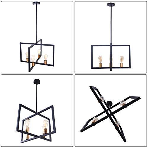 Lingkai Modern Kitchen Island Light 4-Light Pendant Light Dining Chandelier Ceiling Lighting Fixture Industrial Matte Black with Antique Brass Finish by Lingkai (Image #2)