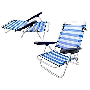Monty LOLAhome Silla Baja Plegable con 4 Posiciones de Playa o Camping Azul de Aluminio Garden, 61x47x80 cm