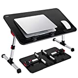 Saiji Portable Laptop Table, Height & Angle Adjustable, Standing Desk, Foldable Sofa Breakfast Bed Tray, Notebook Stand Reading Holder for Couch Floor (Black)