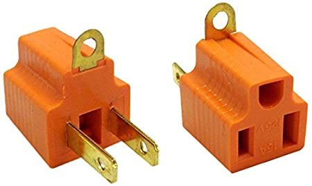 ACL ACL-371119 AC Outlet's Grounding Converter (3 Pins to 2 Pins), UL Certified, Orange