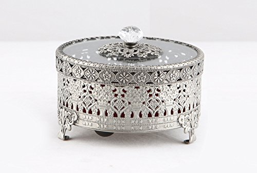 Vintage Round Jewelry Decorative Trinket Box Ring box Antique Metal Case 3.8 inch (Tin (Matt Gray), Small)