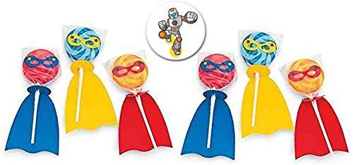 24 Superhero Swirl Pops plus a Superhero Pin Back Button