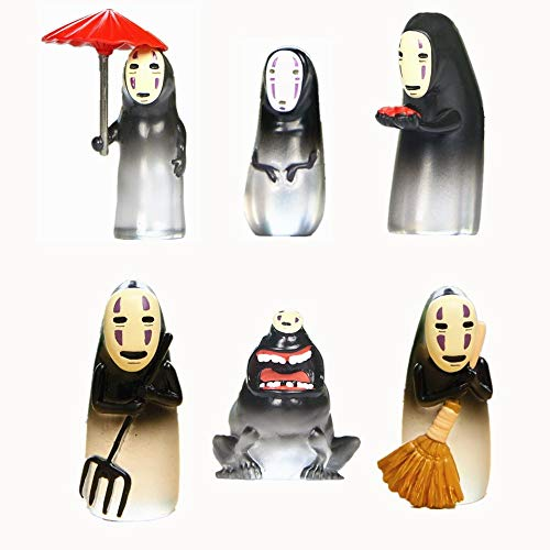 (Kimkoala No Face Men Figure, 6 PCS Japan Cartoon Miyazaki Hayao Spirited Away Faceless Men Action Figure Collection Model Doll Toy Gifts)