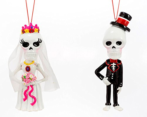 Day Of The Dead Bride and Groom Christmas Holiday Ornaments Set of 2 -