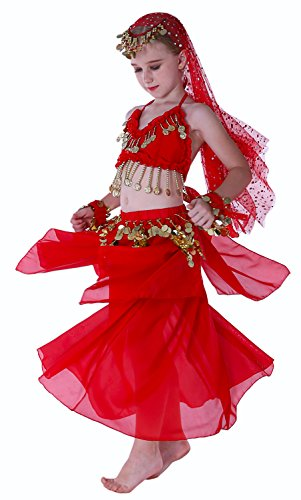 Seawhisper Grils Kids Genie Costume Arabian Dance Costumes Red 10 12 - School Girl Costume Shoes