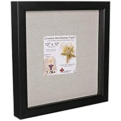 Lawrence Frames 168012 12 by 12-Inch Black Shadow Box Frame, Linen Inner Display Board
