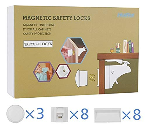 Baby & Child Safety Locks, HUIRUI Child Safety Cabinet Locks Magnetic Baby Drawer Lock Strong 3M Tape Installation No Tools Or Screws Needed with 8 Locks + 3 Keys