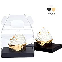 Yotruth Clear Cupcakes Boxes Single With Handle and Black Insert 10 Pack