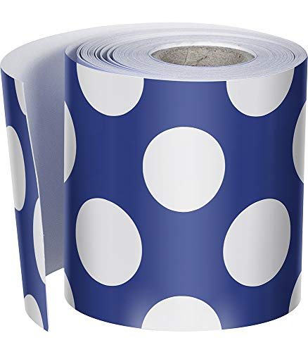 Schoolgirl Style Rolled Straight Borders, Navy with Polka Dots (108326)
