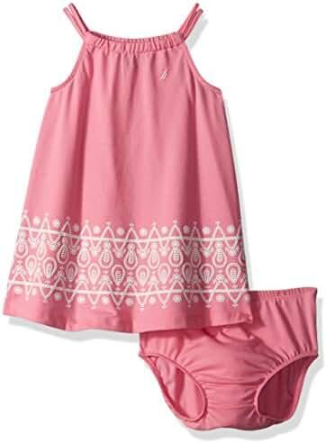 Nautica Baby Girls' Knit Dress with Border Print