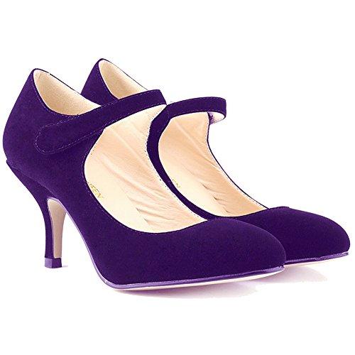 Loslandifen Ladies Mary Jane Mid Heels Casual Ankle Strap Work Pump Shoes Purple Velvet NdUKxoF