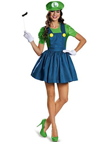 Kiss Couples Halloween Costumes (Disguise Women's Luigi Skirt Version Adult Costume, Green/Blue,)