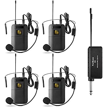 wireless headset microphone system ferbuee uhf wireless microphone set with 4. Black Bedroom Furniture Sets. Home Design Ideas