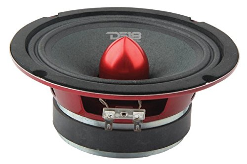 "DS18 PRO-X6.4BM Loudspeaker - 6.5"", Midrange, Red Aluminum Bullet, 500W Max, 250W RMS, 4 Ohms - Premium Quality Audio Door Speakers for Car or Truck Stereo Sound System (1 Speaker)"