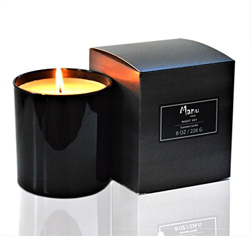 Manu Home Night Sky Scented Candle ~ A refreshing light aroma of Jasmine, Suede and White Frangipani~ Soft Scent~ Soothing Relaxation scent~ Great Gift! ()