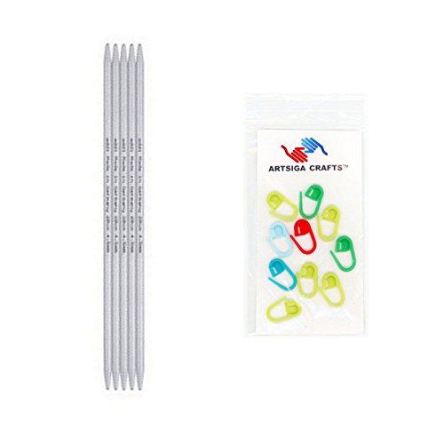 addi Knitting Needle Double Pointed Aluminum 8 inch (20cm) (Set of 5) Size US 05 (3.75mm) Bundle with 10 Artsiga Crafts Stitch Markers - Aluminum Double Knitting Needles Point