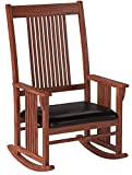 Product review for Rocking Rocker Wood Leather Chair with Mission Style in Walnut Finish