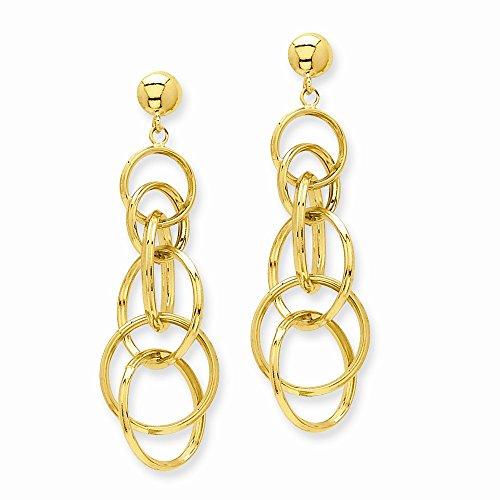 Core gold 14k circle drop post earrings