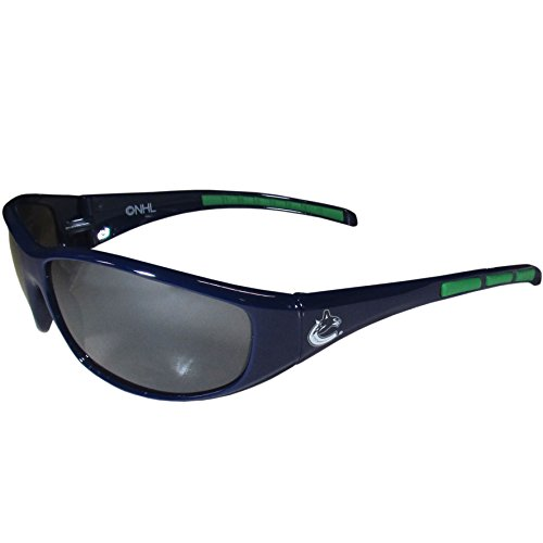 NHL Vancouver Canucks Wrap Sunglasses, Navy Blue, - Sunglasses Vancouver