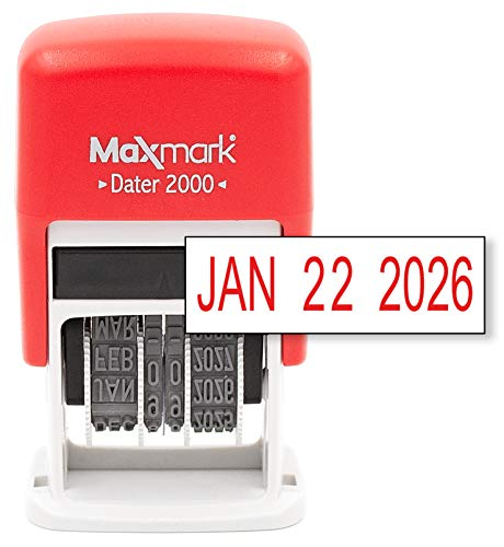 MaxMark Dater 2000, Self Inking Small Date Stamp with Red Ink (Classroom Date Stamp)