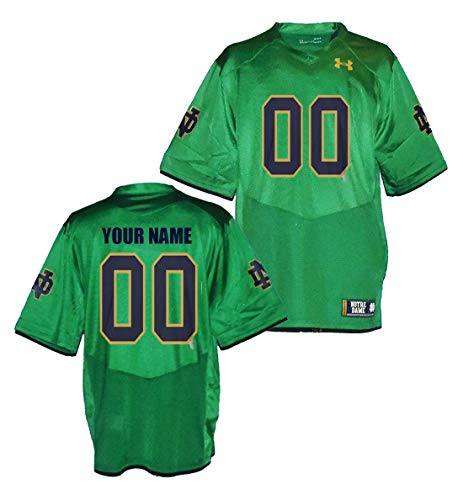 Custom Notre Dame Fighting Irish Kelly Green Football Jersey (XX-Large)