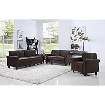 Exceptional Classic Living Room Furniture Set   Sofa, Love Seat, Accent Chair (Brown)