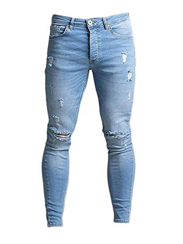 Soluo Men's Ripped Destroyed Skinny Jeans Stretchy Knee Holes Slim Denim Pants Stretch Distressed Trousers