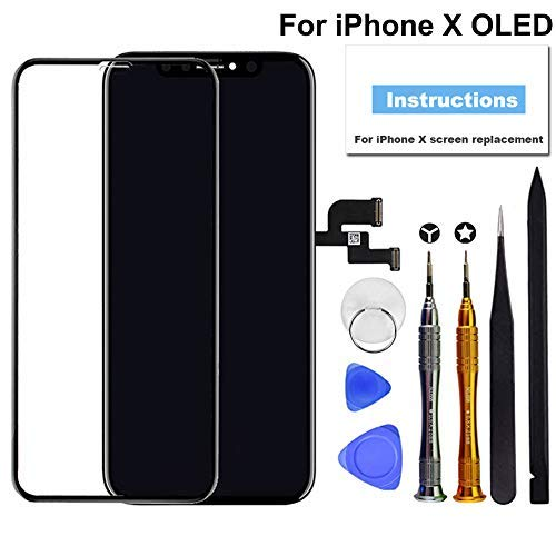 - for iPhone X Screen Replacement OLED 5.8 inch [NOT LCD] Touch Screen Display Digitizer Repair Kit Assembly with Complete Repair Tools and Screen Protector